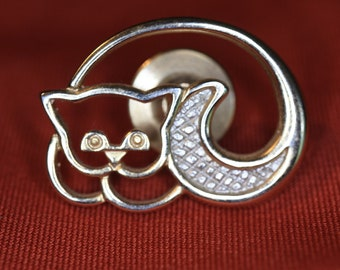 Cute Curled up CAT lapel pin, Gold & Silver AVON Vintage Pin