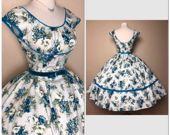 295ab6b7845 Gorgeous New look 1950 s Vintage Full circle skirt Lower Back floral roses 50s  Sundress Cocktail Party dress 1950s