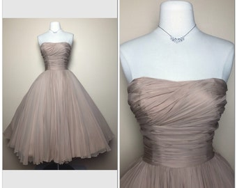 a7ff346b68bc1 Iconic CEIL CHAPMAN Old Hollywood Exclusive silk chiffon strapless 50s  dress Full Circle skirt Glamour