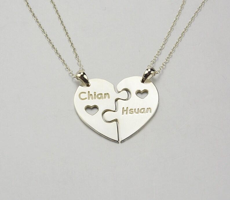82219de92d2c Corazón de Puzzle collar collar de la familia 2 piezas de