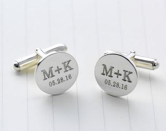 Personalized Wedding Cufflinks,Date and Initials Cufflinks,Groom Cufflinks,Monogrammed Cufflinks,Engraved Cufflinks,Men Gift