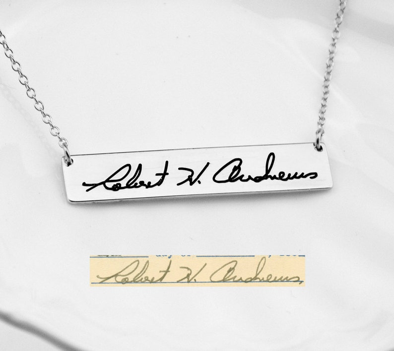 92b0a1be611 Signature NecklaceSilver Bar NecklaceHandwriting Bar