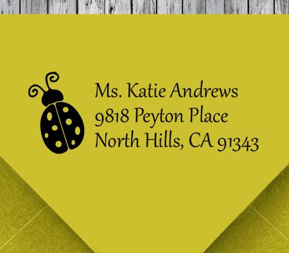 Return Address Stamp Self Inking Custom Ladybug