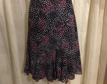 Skirt Black /White /Pink /Polka Dot/ Ruffled Handkerchief Bottom by Jessica Size14/ Free Shipping