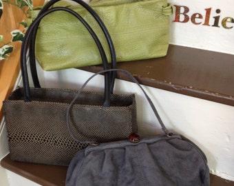 Vintage Handbags,Free Shipping,Plinto Visona1959 /Cornell 1960's/1970's Grey Clutch Red Closure Avon/