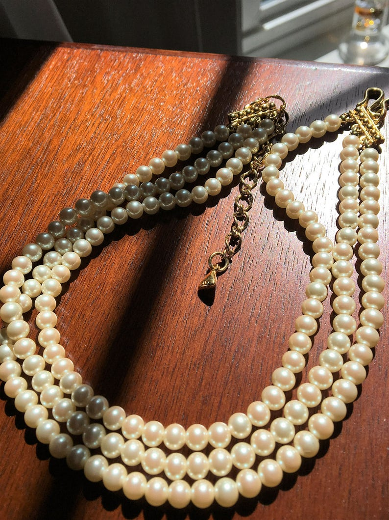 a19818a7a0659 Pearl Necklace by Liz Claiborne Vintage 1960's/ 3 Strands of Pearls/  Gorgeous Necklace/Free Shipping!