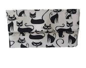 Black & White Cat Foldover Slimline Clutch Bag