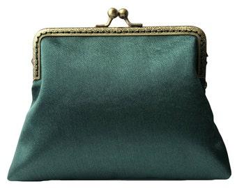 34f7e196e4 Handmade Forest Green Satin Clutch Bag Purse - Forest Green Evening Bag -  Forest Green Clutch Purse Gify For Her - Wedding Clutch Bag
