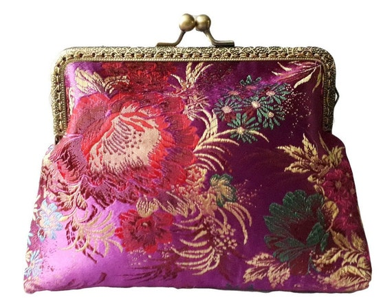 Handmade Magenta And Gold Oriental Floral Clutch Bag Purse