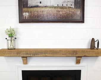 Reclaimed Farmhouse Wood Shelf Rustic Barn Beam Mantel