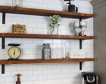 white rustic shelves