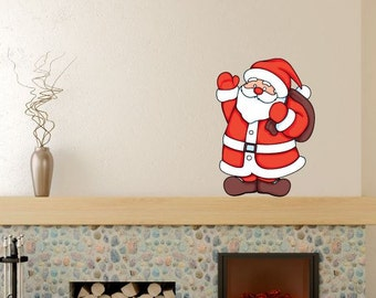 HOL003 He Knows When You Are Sleeping Santa Christmas Holiday Wall Decal Quote