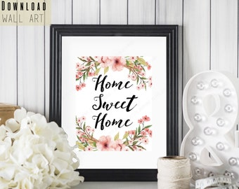 """Home Sweet Home Pink Bohemian Printable - 8"""" x 10"""" Floral Home Decor - Printable SALE - Instant Download - Housewarming Gift - Gifts for Her"""