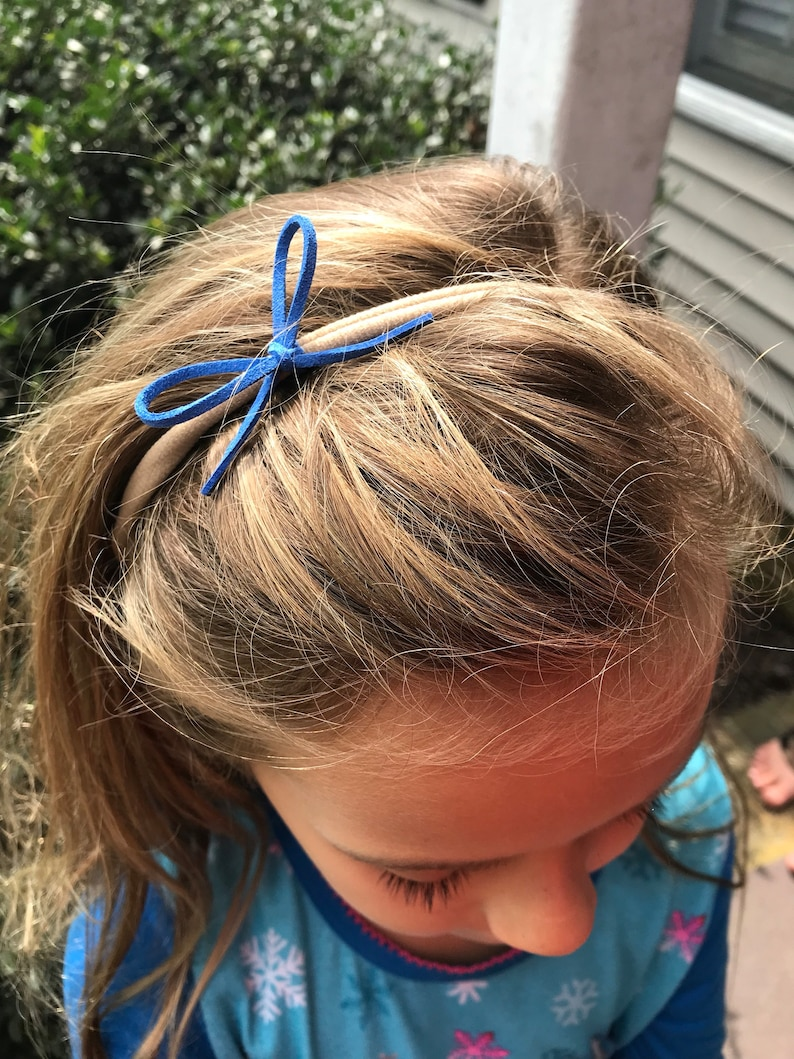 Set of 3 Nylon Headbands with Sweet Suede mini bows