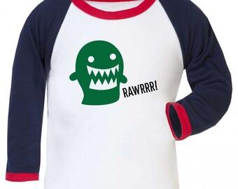 Rawrrr! Monster Dinosaur Boys Girls Baseball Long Sleeve Shirt