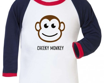 Cheeky Monkey Boys Girls Baseball Long Sleeve Shirt