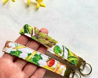 Free Charm Vegetable Wristlet Vegetables Vegetable Key FOB Grosgrain Ribbon Vegetable Keychain