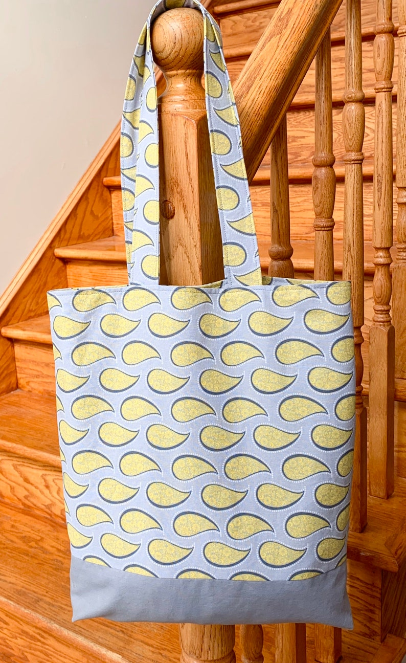 Pretty yellow fabric tote with inside pockets /& elastic to secure bottle Paisley Office Tote Gray Yellow Shoulder Bag Made in Canada