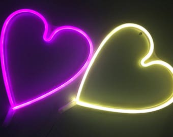 HEART Acrylic Neon Light - USB - Pink, White, Red
