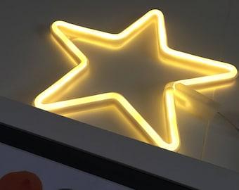 Acrylic Neon STAR Light - USB - Pink, White