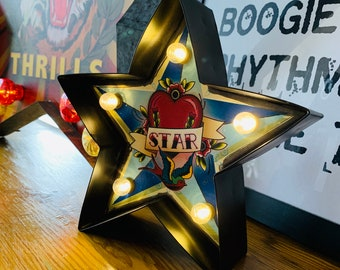 Tattoo Flash Style STAR LED Light | Battery Operated | Home Decor | Christmas Gift
