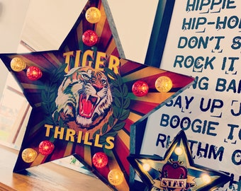 Carnival Style TIGER THRILLS Star Marquee LED Light | Battery Operated