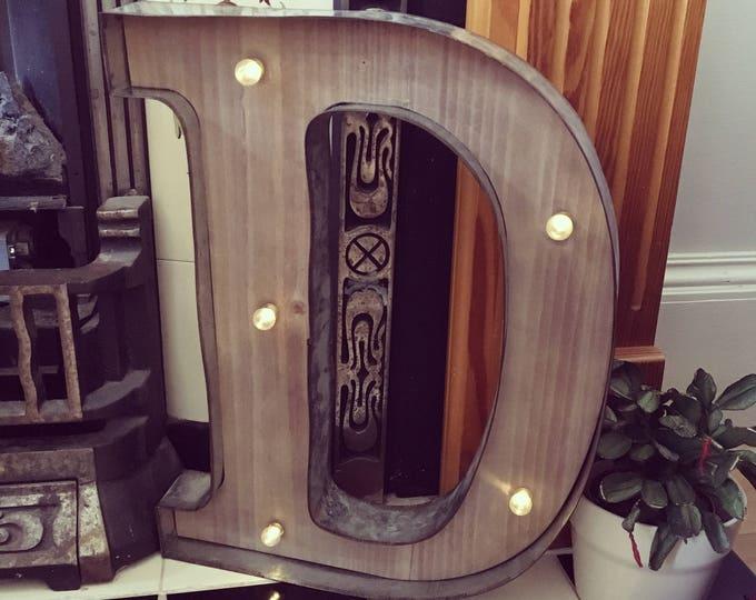 CUSTOM ORDER - Rustic Barn Style Giant Wooden LED Light up Letter Lights X 10