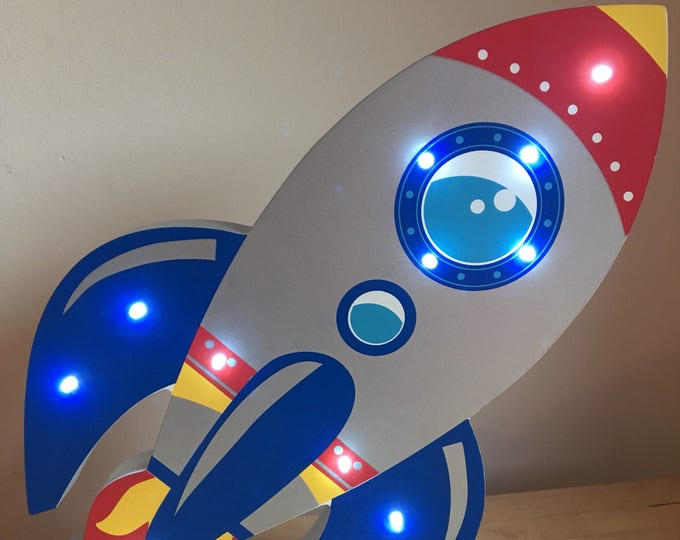 Wooden Hand Painted LED Night Light - Rocket