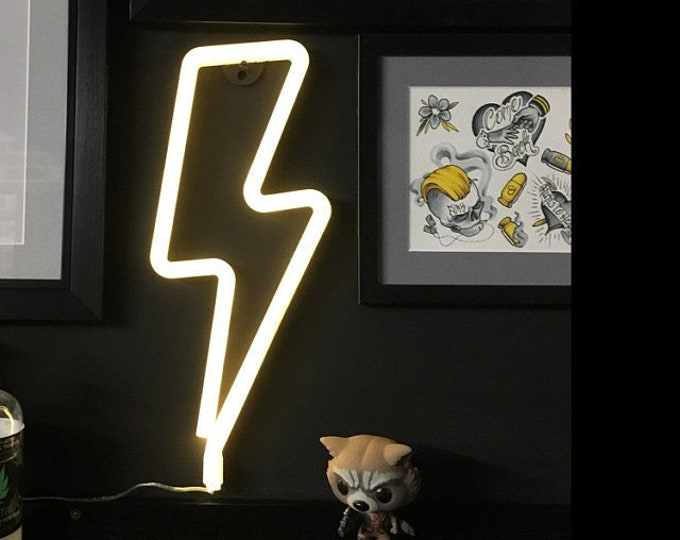 LIGHTNING BOLT Acrylic Neon Light - USB - Pink, Blue, White