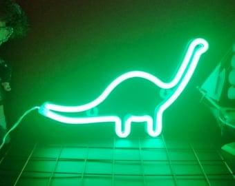 Acrylic Neon Dinosaur Light - USB or Battery