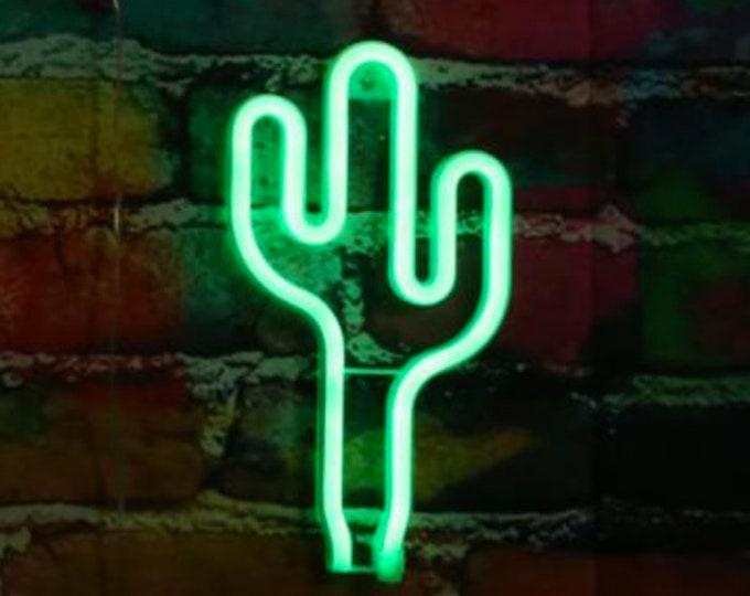 Acrylic Neon CACTUS Light - USB - Green