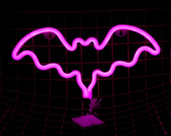 Acrylic Pink Neon BAT Light - USB/Battery