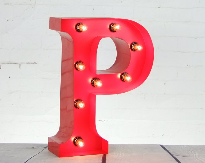 """15""""/ 38cm Mains Powered Vintage Marquee Letter Light - Letter P - Floor Light - Letter Prop/Display - Available in Rusty or Red"""
