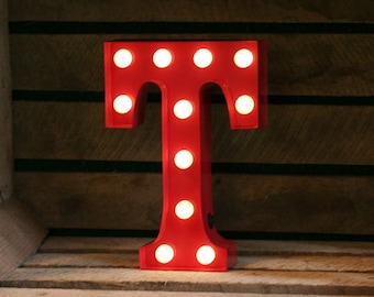 Vintage Carnival Style Marquee Light, Light up Letter T - Battery Operated