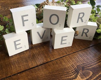 White Wooden Scrabble Blocks - FOREVER