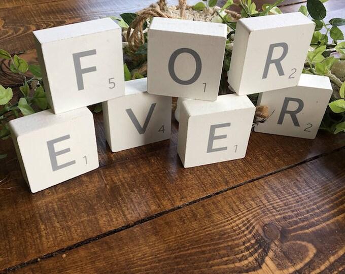 White Wooden Scrabble Blocks - FOREVER
