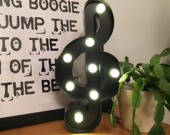 12 Inch Metal Marquee Light - TREBLE CLEF