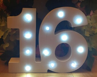 Wooden Light Up LED Number 16