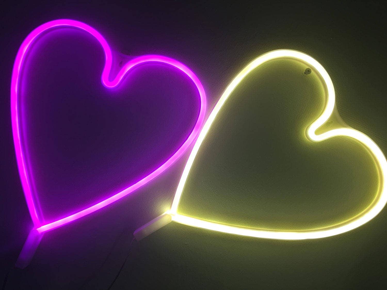 acrylic neon heart light usb pink white