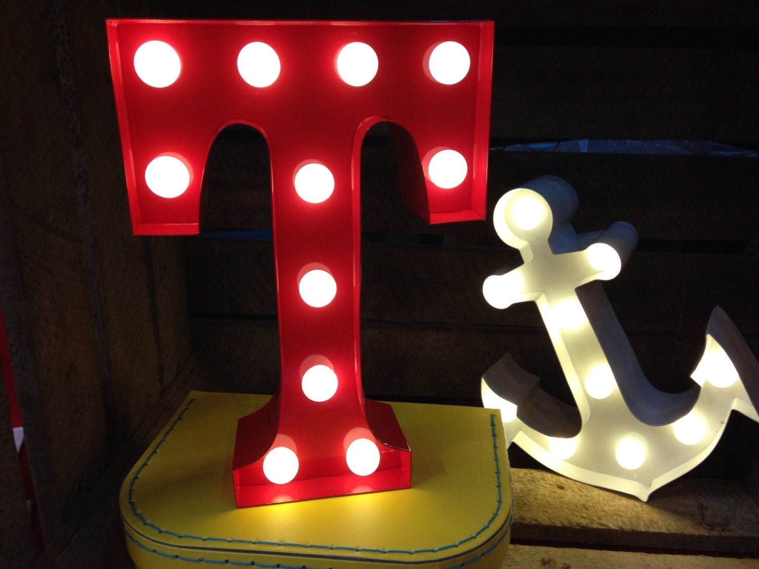 Vintage Carnival Style Marquee Light Light Up Letter T
