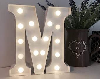 Vintage Carnival Style Marquee Light, Light up Letter M - Battery Operated