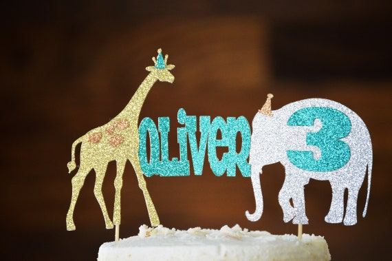 Personalized Party Animal Cake Topper Gold Jungle Birthday Circus Safari Decoration