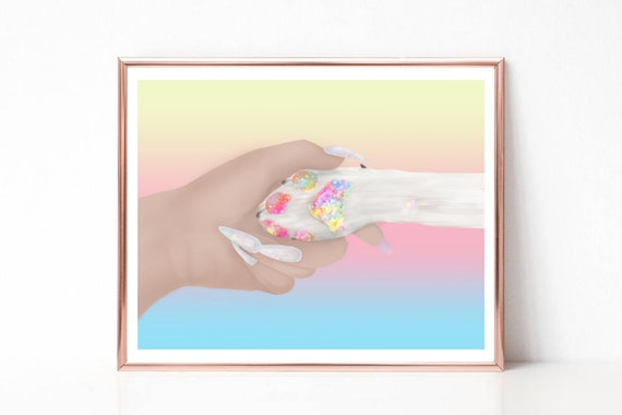 love Print  Watercolor a4 glossy poster nursery picture,unframed