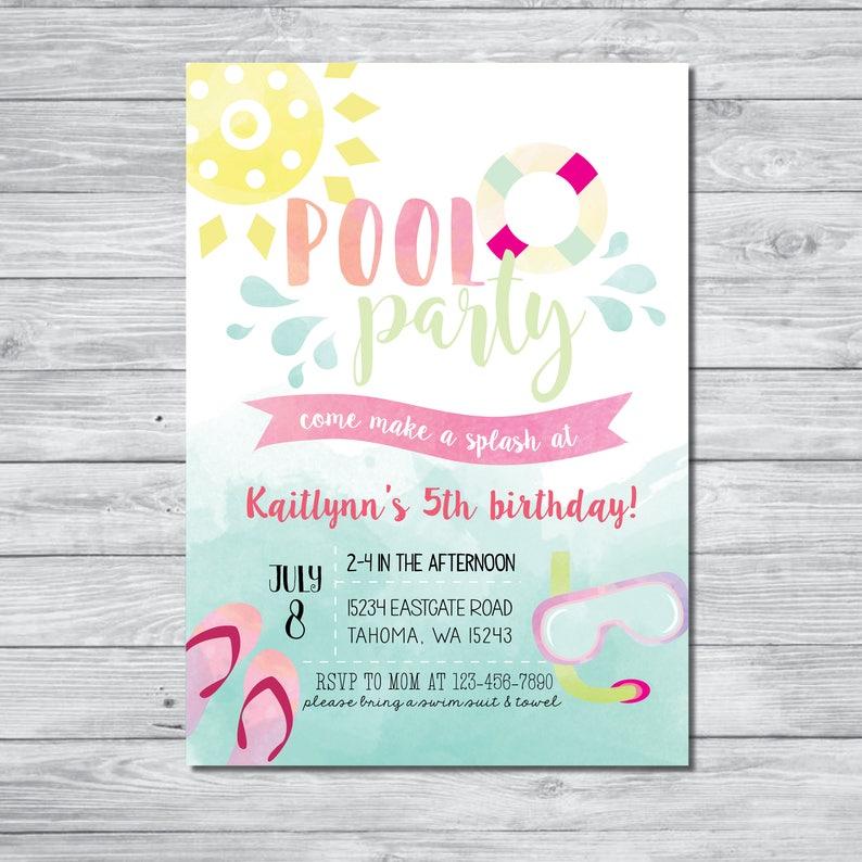 Pool Party Birthday Invitation Invite Summer