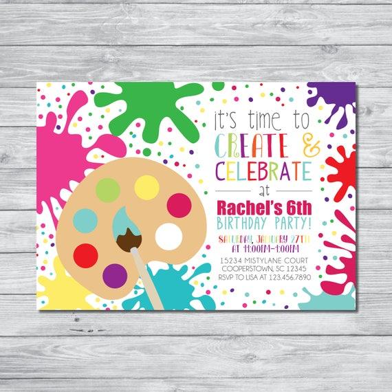 paint party invitation art party invitation art birthday etsy