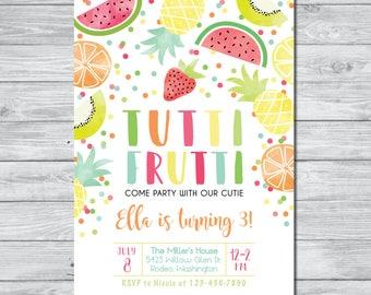 Tutti Frutti Birthday Invitation, Tutti Frutti Party, Summer Party Invitation