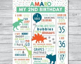 Dinosaur Birthday Stats Printable, Milestone