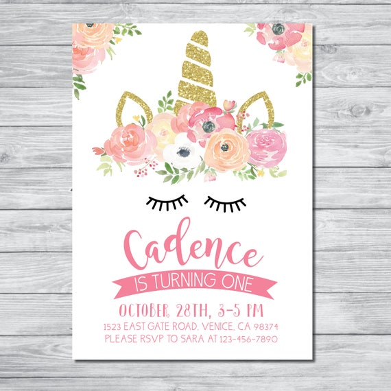 Delicate image for unicorn invitations printable