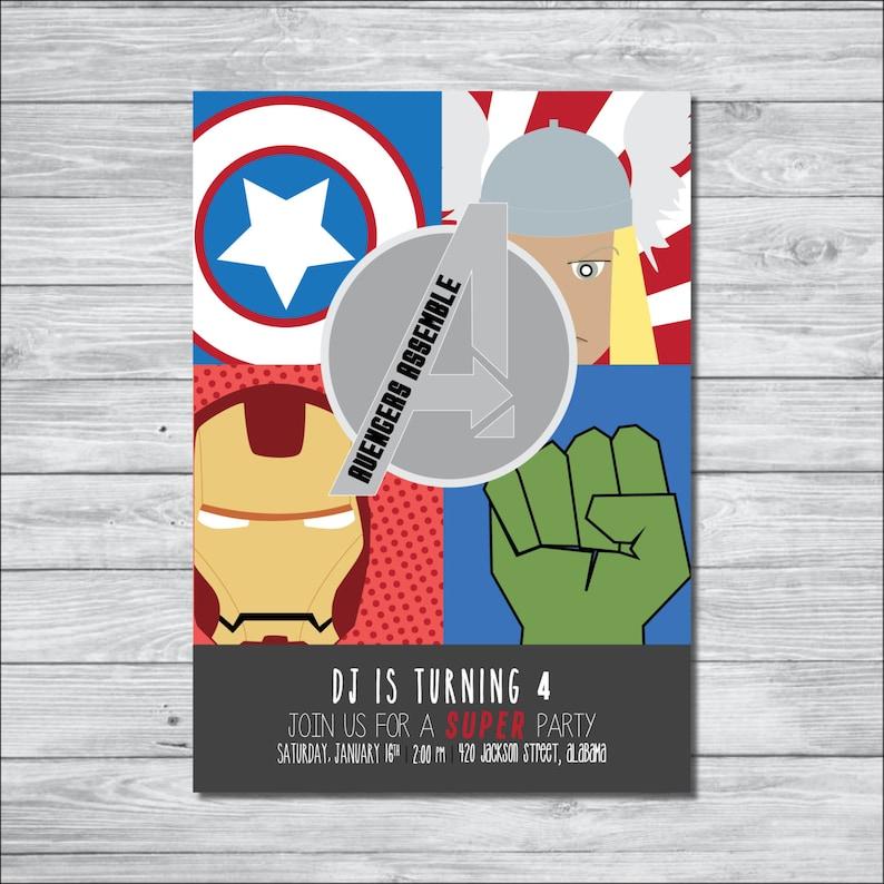Avengers Birthday Invitation DIY Digital
