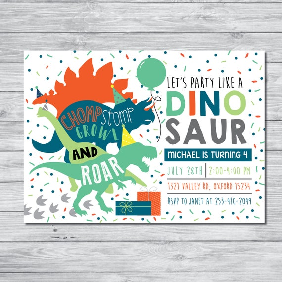 Dinosaur Birthday Party Invitation Boy
